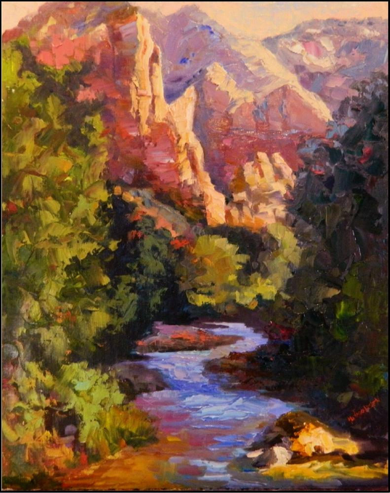 """Return to Zion, 16x20, oil on linen, Zion National park painting, The Watchman, Virgin River, Pale"" original fine art by Maryanne Jacobsen"