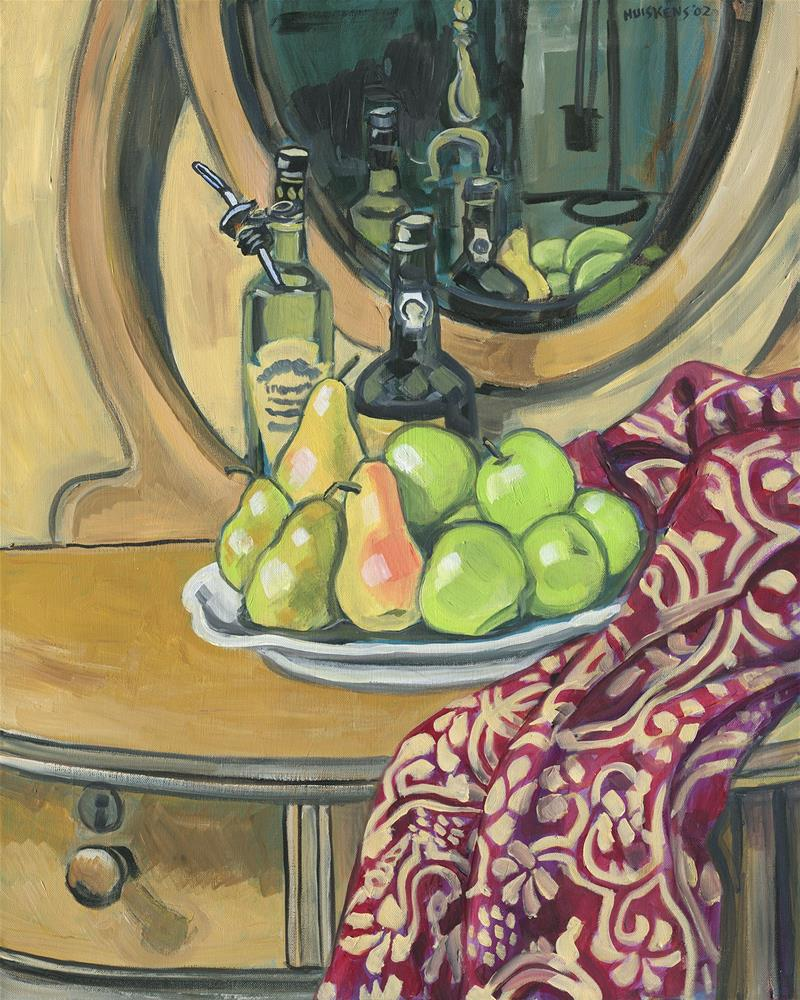 """""""Still Life With Apples, Pears And Bottles"""" original fine art by Randal Huiskens"""