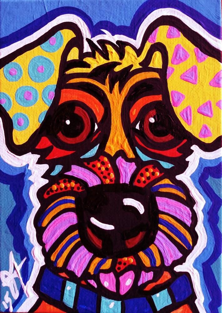 """Rover Dog Puppy Design Fun Kids Lakeland Airedale Soft Coated Wheaten Sealyham Welsh Terrier Norwich Kerry Blue"" original fine art by Jackie Carpenter"