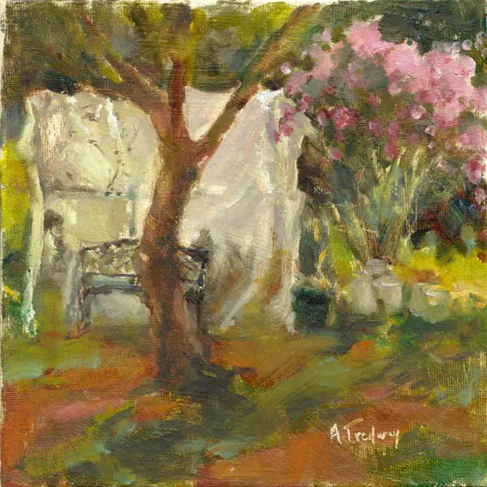 """Rose Bush & Greenhouse"" original fine art by alicia tredway"