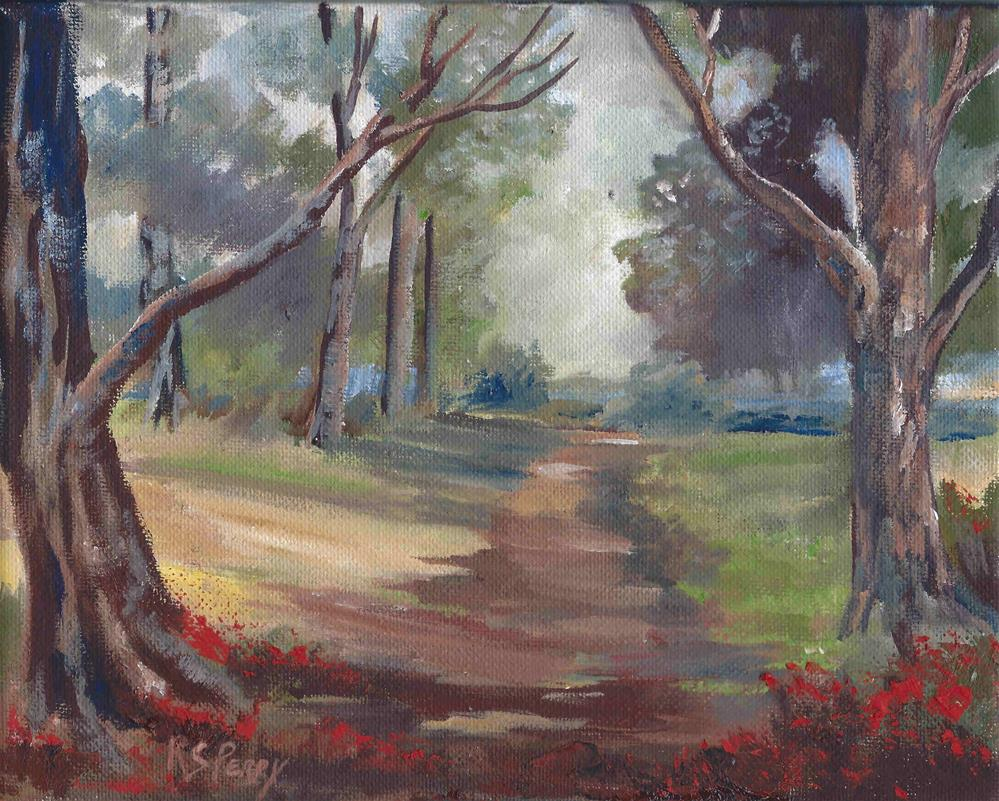 """""""Trail to the Lake"""" original fine art by R. S. Perry"""