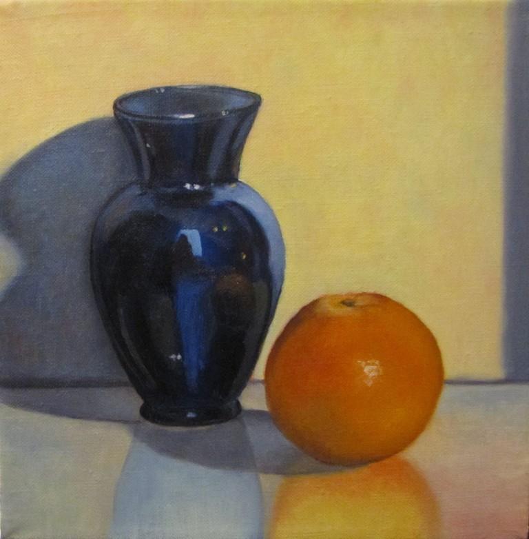 """67 - Orange and Blue Vase"" original fine art by Edward Watson"
