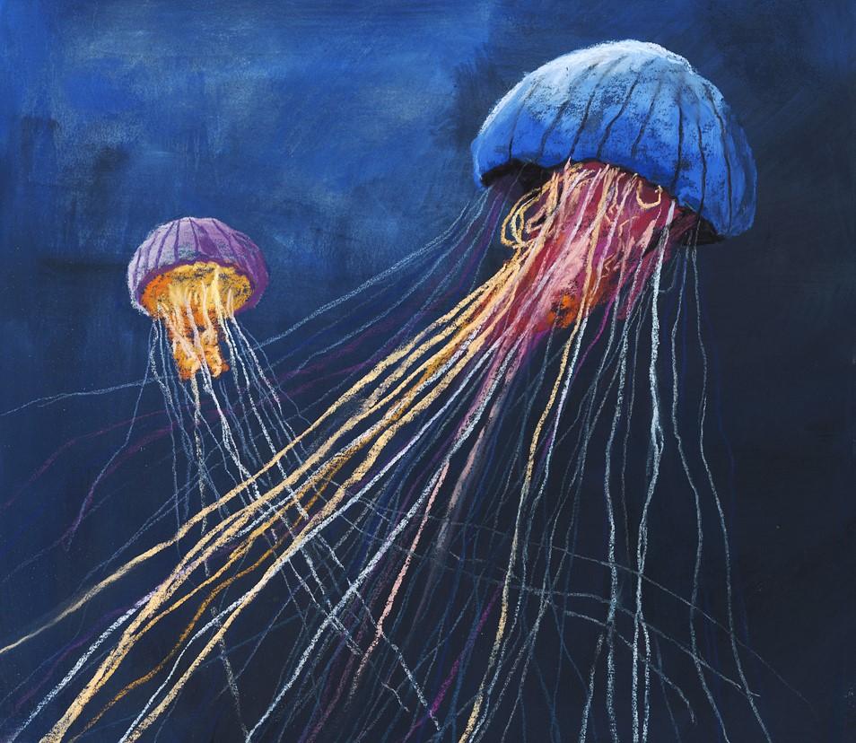 """Two Jellyfish"" original fine art by Ria Hills"