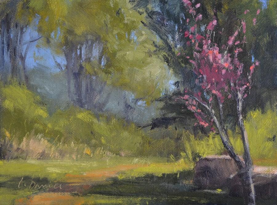"""""""Redbud Path"""" original fine art by Laurel Daniel"""