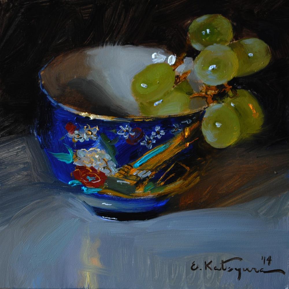 """Grapes in Japanese Cup"" original fine art by Elena Katsyura"