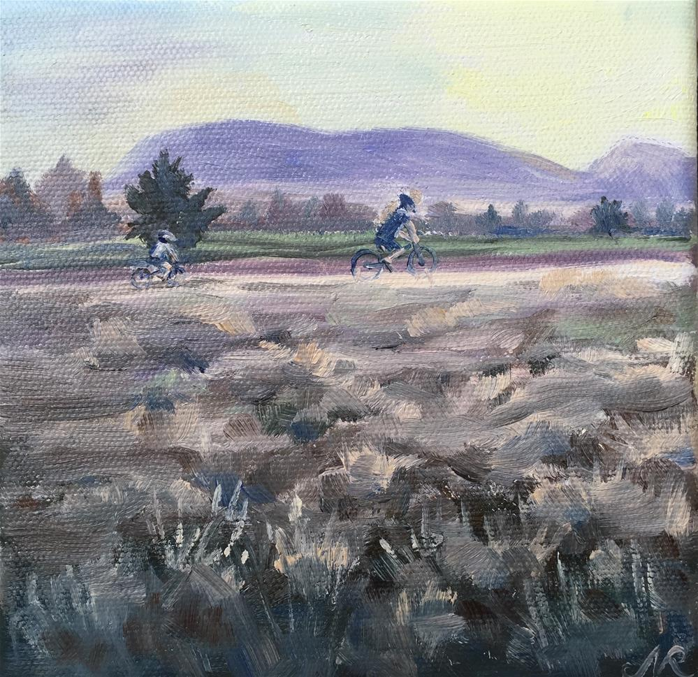 """Bikers at sunset"" original fine art by Natasha Ramras"