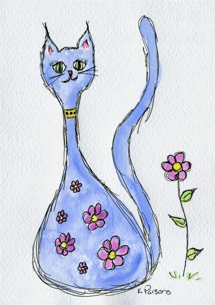 """""""Flowery Feline"""" original fine art by Kali Parsons"""