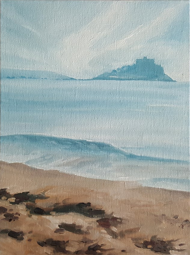 """St Michael's Mount from Long Rock"" original fine art by J M Needham"
