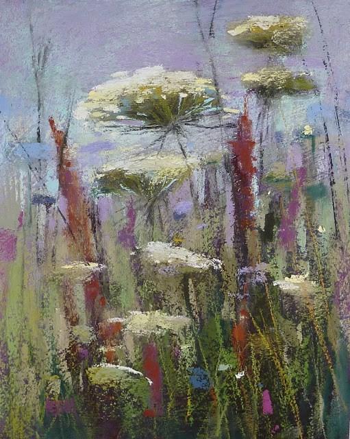 """Moody Wildflowers Mini Pastel Demo"" original fine art by Karen Margulis"