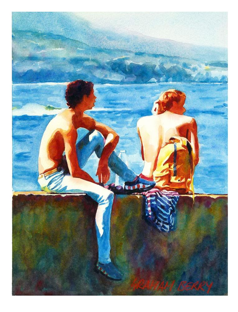 """Two lads."" original fine art by Graham Berry"