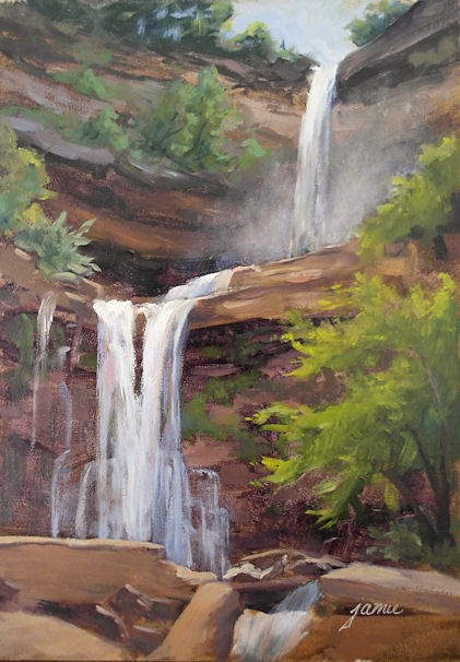 """Morning Mist at Kaaterskill Falls"" original fine art by Jamie Williams Grossman"