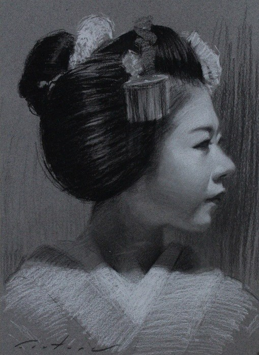 """""""Ryouka Charcoal Portrait"""" original fine art by Phil Couture"""
