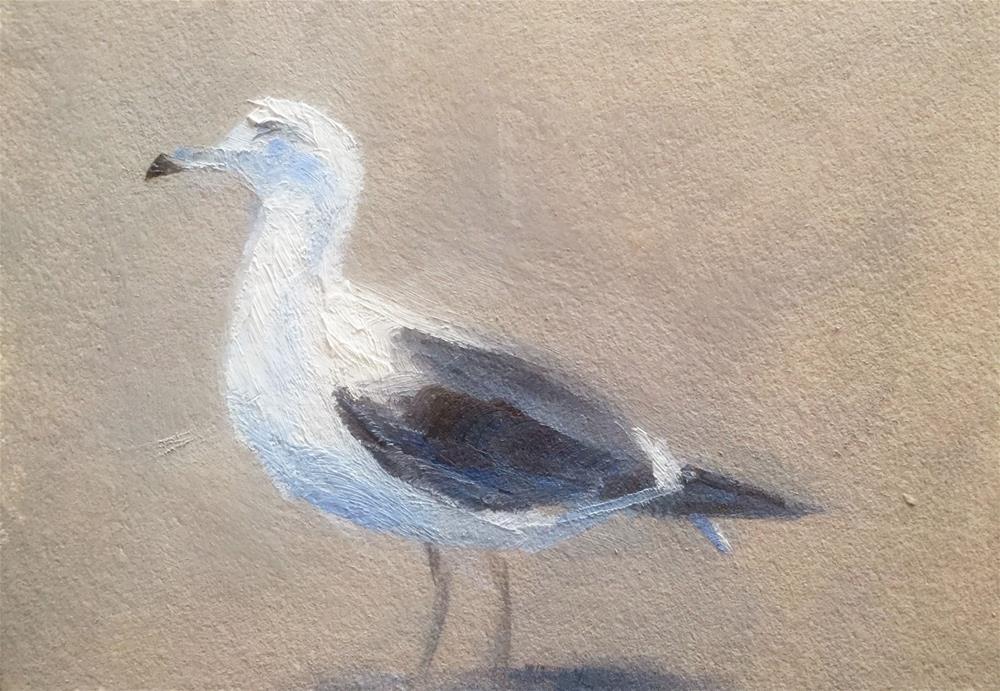 """""""Gull on a Parking Lot"""" original fine art by Gary Bruton"""