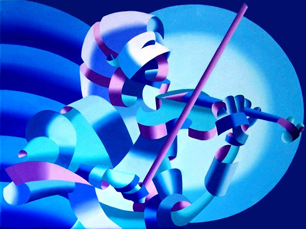 """""""Mark Webster Artist - The Violinist, Blue - Abstract Geometric Futurist Figurative Oil Painting"""" original fine art by Mark Webster"""