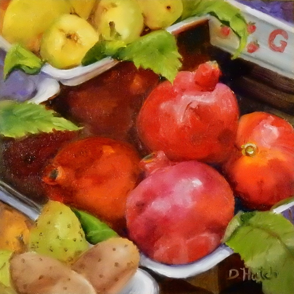 """Market Series #2, Pomergranates"" original fine art by Diane Hutchinson"