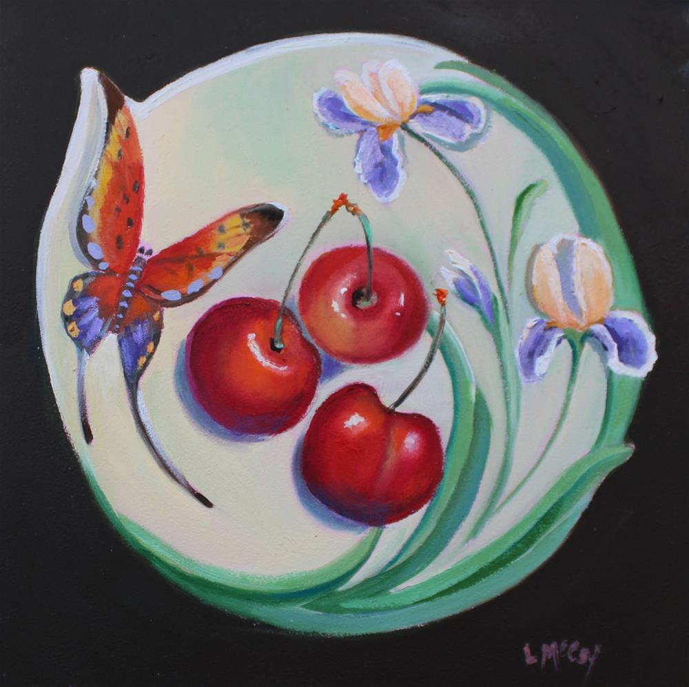"""Cherries on Franz Plate"" original fine art by Linda McCoy"