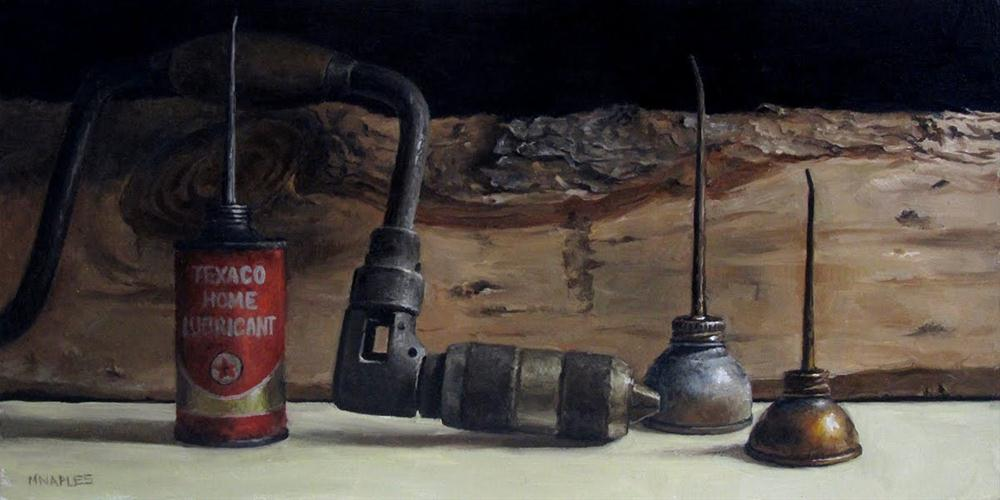 """Hand Drill with Oil Cans"" original fine art by Michael Naples"