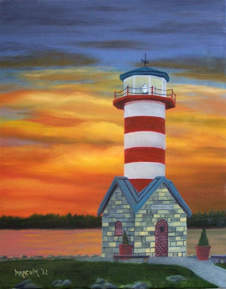 """Grafton Lighthouse at Sunset"" original fine art by John Marcum"