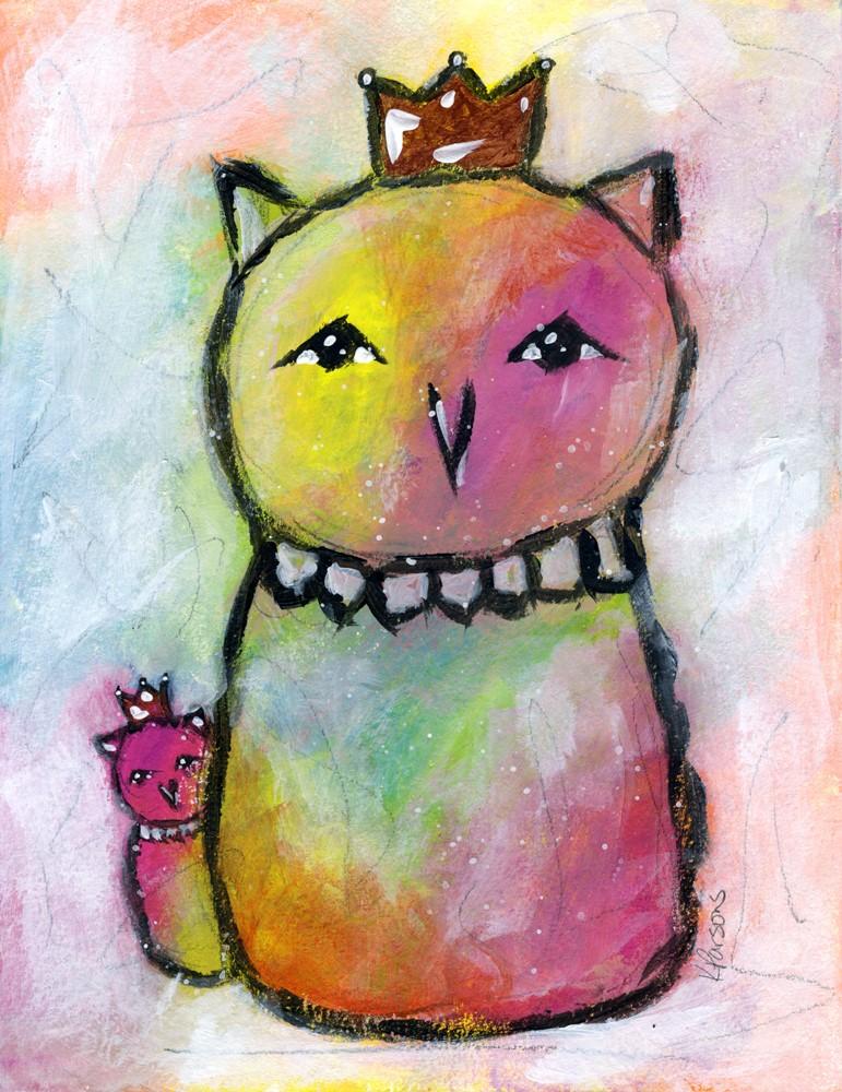 """Rainbow Owls"" original fine art by Kali Parsons"