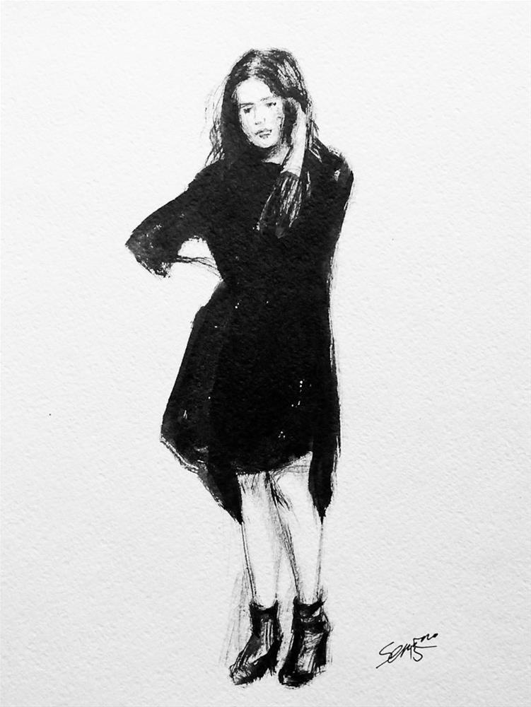 """Little Black Dress"" original fine art by Elena Senina"