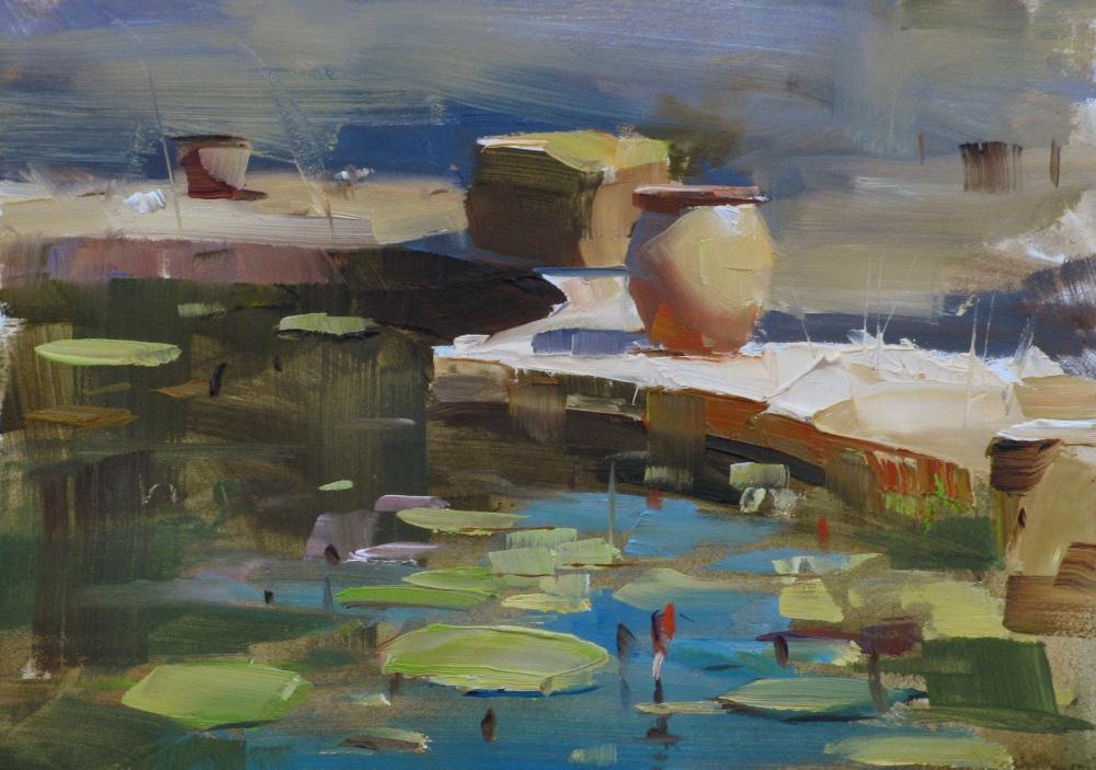 """""""Hill Country Water Garden"""" original fine art by Qiang Huang"""