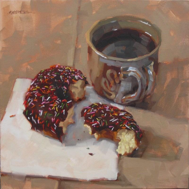 """""""Donut & Coffee"""" original fine art by Karen Werner"""