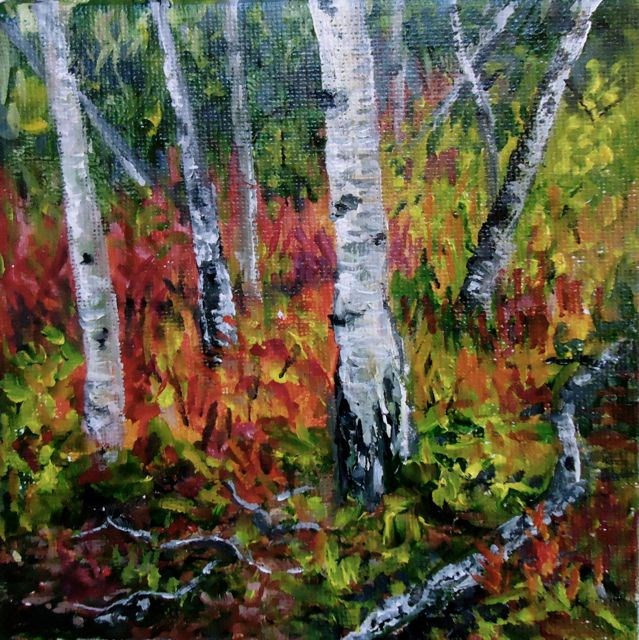 """2015 Yukon Aspens No. 3"" original fine art by Jackie Irvine"