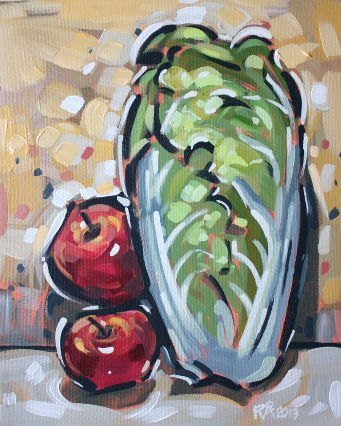 """Apples and napa cabbage 1"" original fine art by Roger Akesson"
