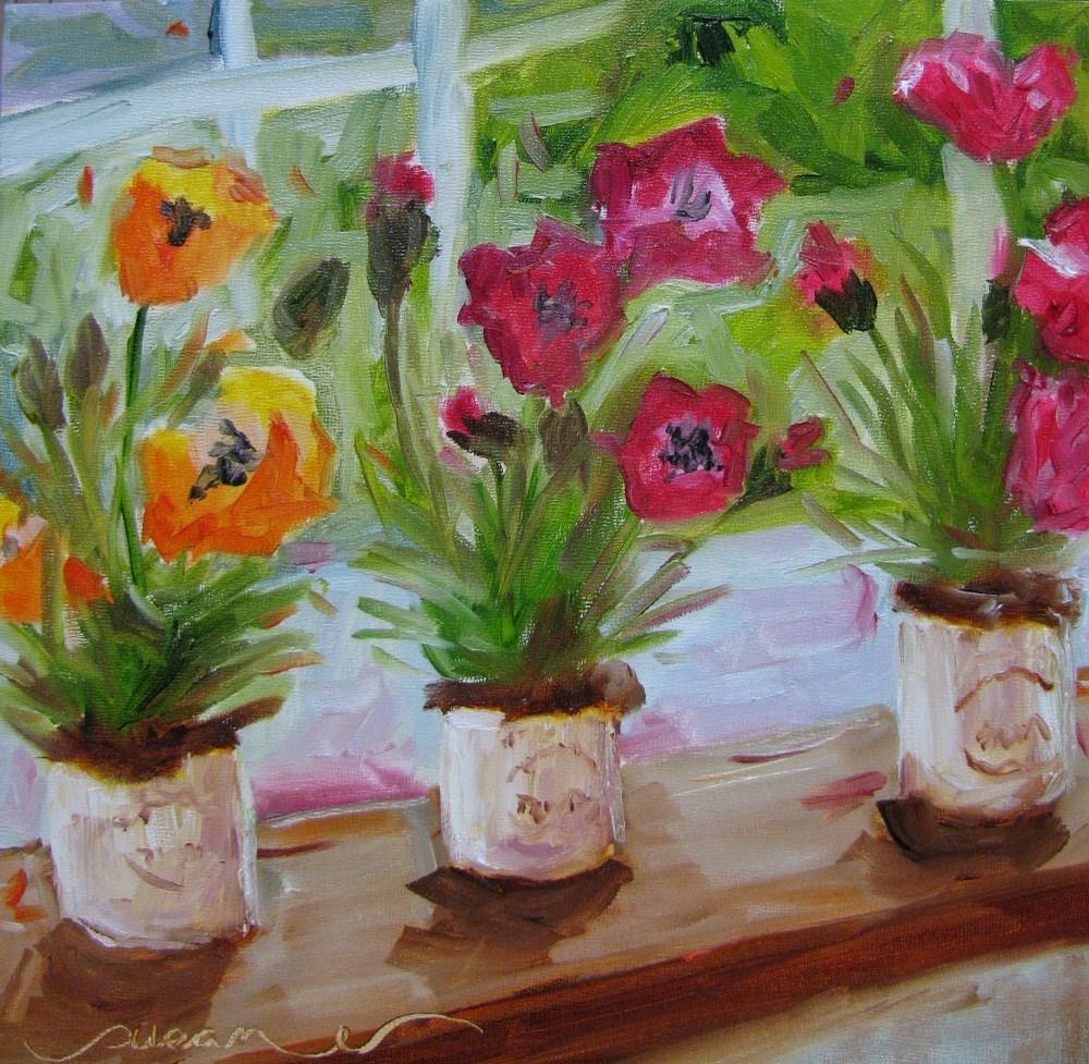 """Perched Poppies"" original fine art by Susan Elizabeth Jones"