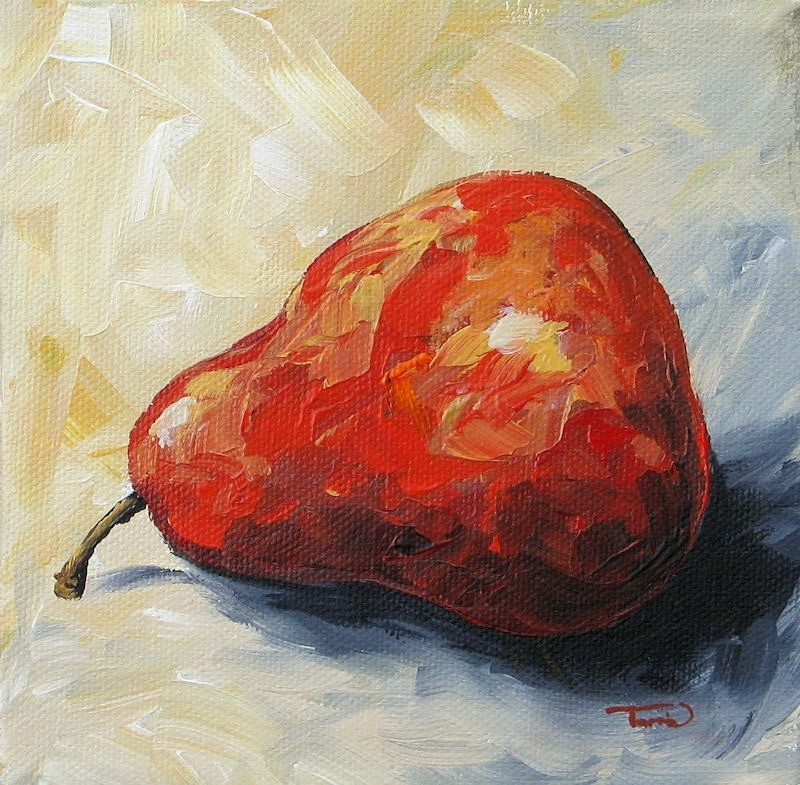 """The Lazy Red Pear III"" original fine art by Torrie Smiley"