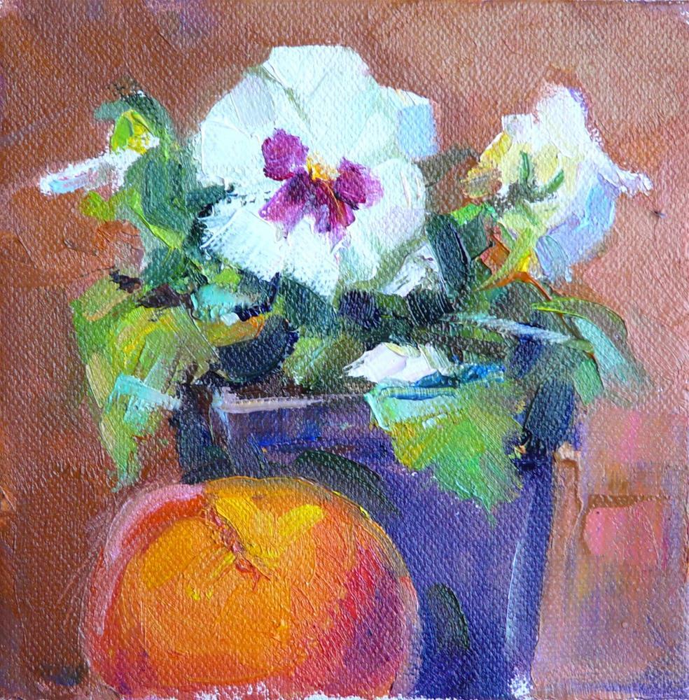 """Peach and Pansy,still life,oil on canvas,6x6,price$200"" original fine art by Joy Olney"