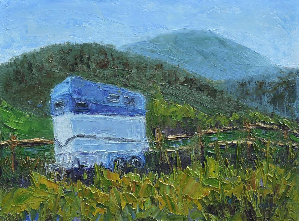 """The Blue Horse Trailer"" original fine art by Linda mooney"