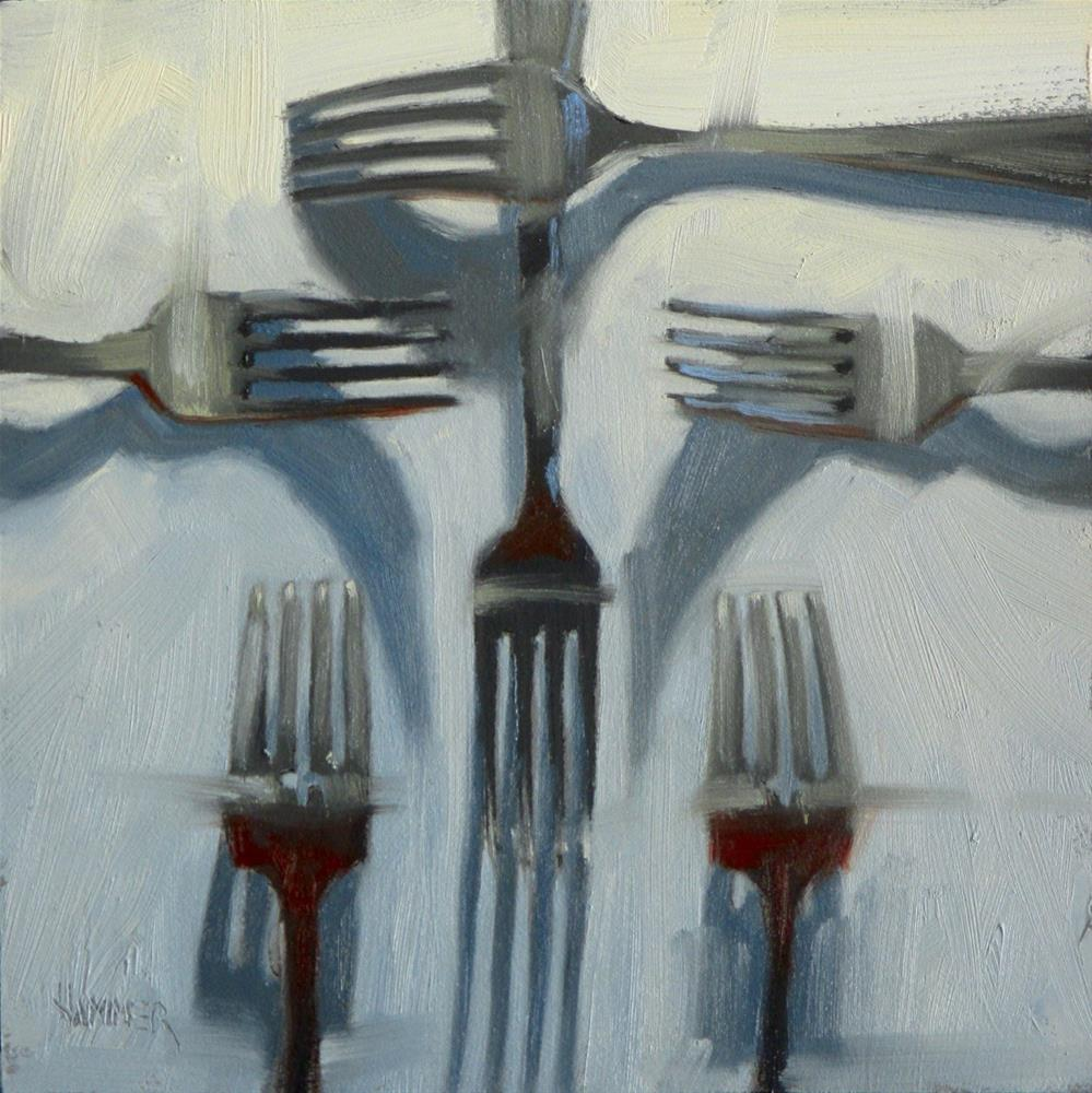"""Six Forks  6in x 6in  oil"" original fine art by Claudia Hammer"