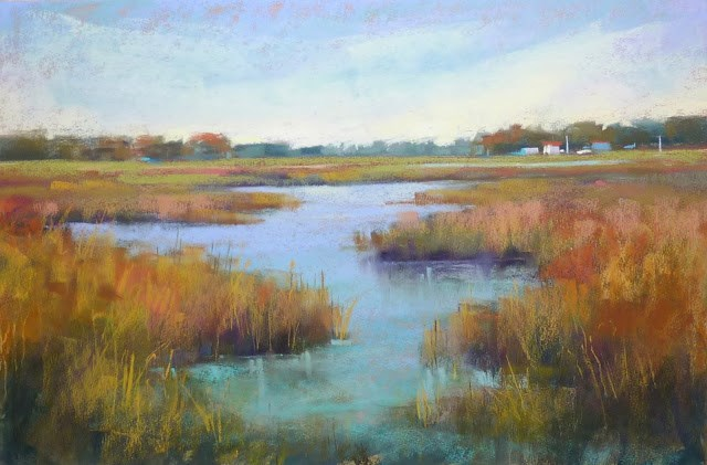 """Painting Grass....How Much is Too Much?"" original fine art by Karen Margulis"