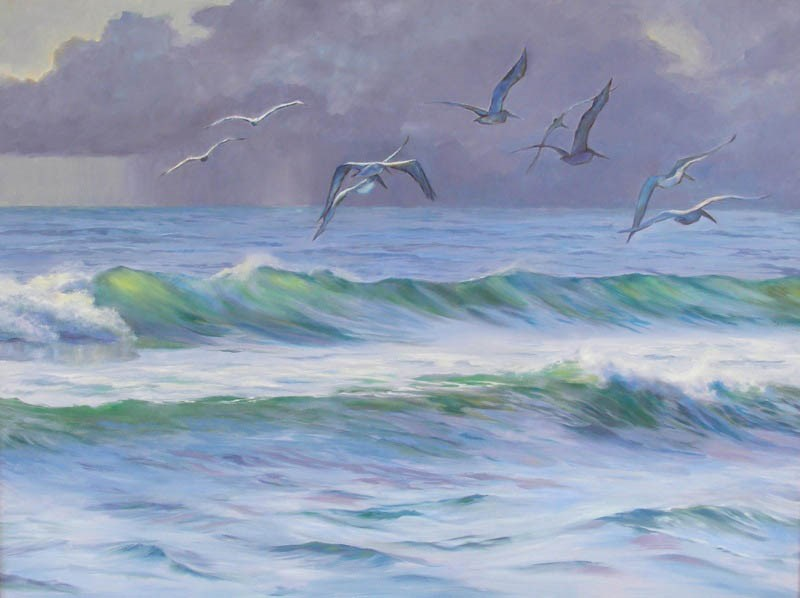 """Storm's Coming, 30x40 Oil on Canvas, Seascape"" original fine art by Carmen Beecher"