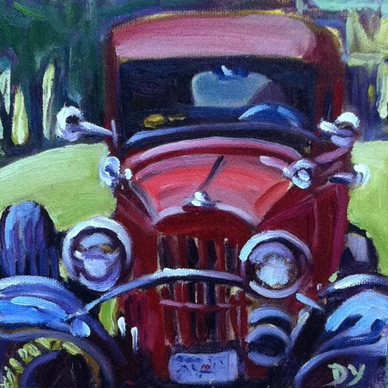 """The Red Car, 6x6 oil on canvas board"" original fine art by Darlene Young"