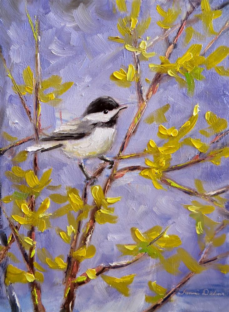 """Chickadee in the Forsythia"" original fine art by Tammie Dickerson"