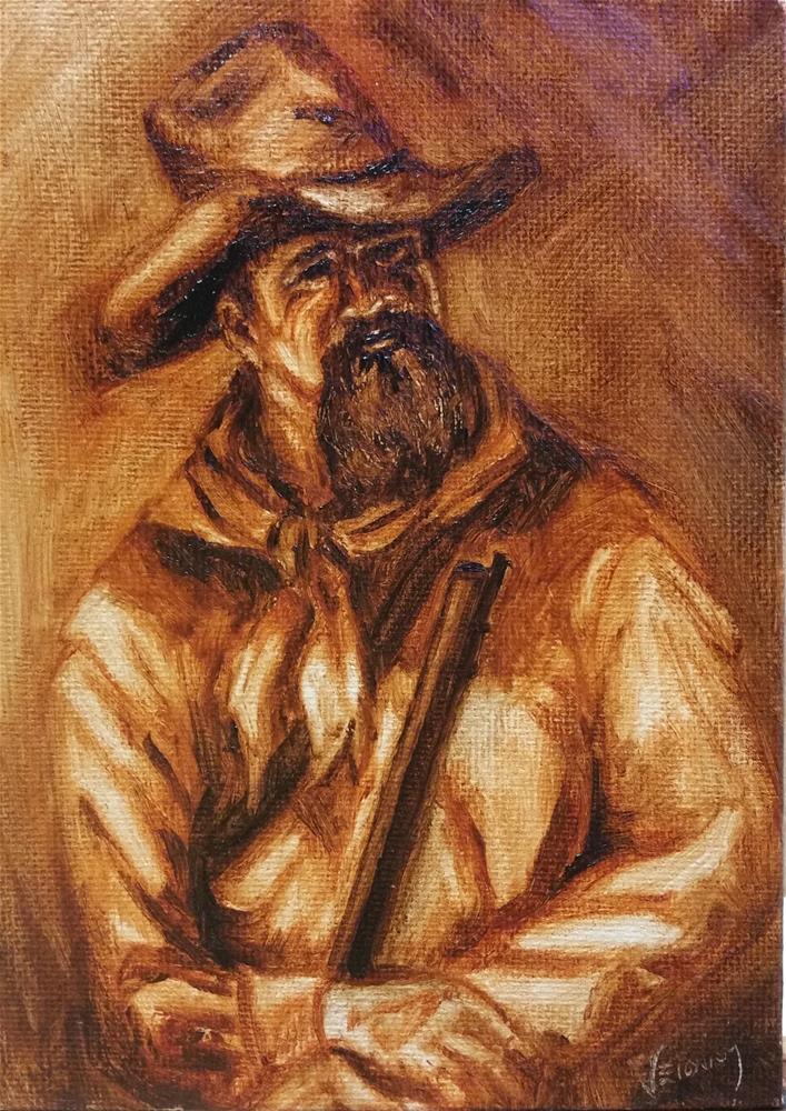 """Frontiersman--value study"" original fine art by Veronica Brown"