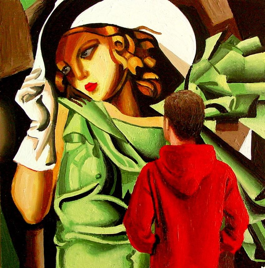 """Young Girl With Gloves- Painting Of Man Enjoying Painting By Tamara de Lempicka"" original fine art by Gerard Boersma"
