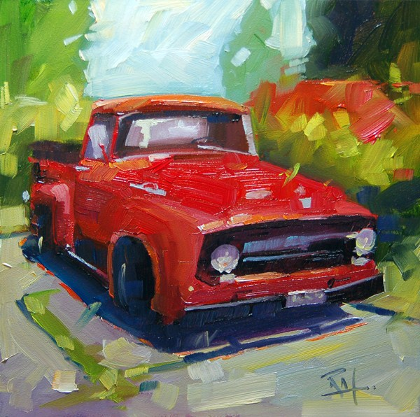 """""""The great red Truck"""" original fine art by Robin J Mitchell"""