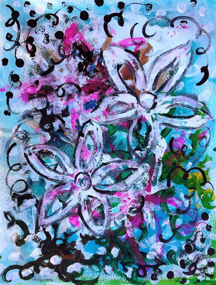 """""""Whimsy Flower Bliss"""" original fine art by Kali Parsons"""