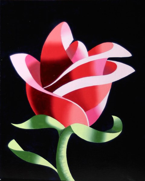 """Mark Webster - Abstract Geometric Rose #2 Still Life Painting"" original fine art by Mark Webster"