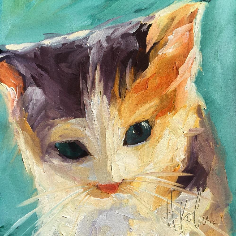 """""""Calico Kitten"""" original fine art by Hallie Kohn"""