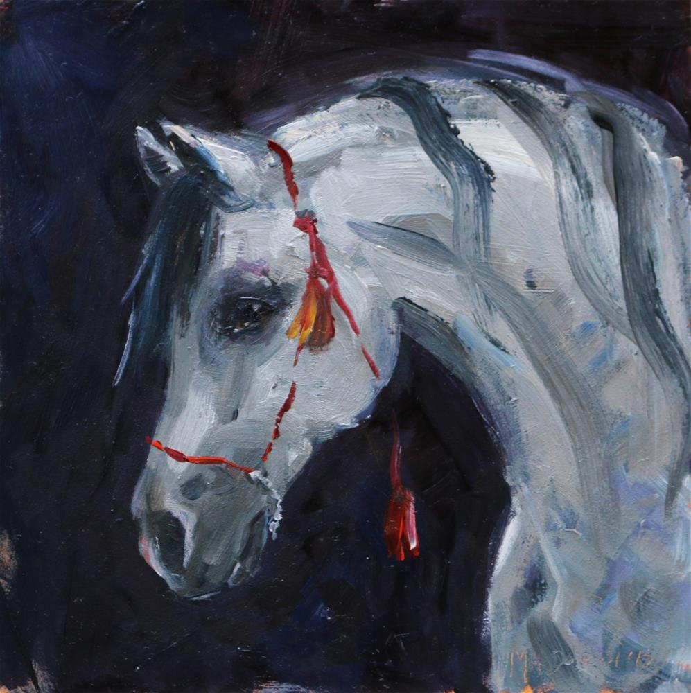 """""""Horse with the red halter"""" original fine art by Miranda Dalessi"""