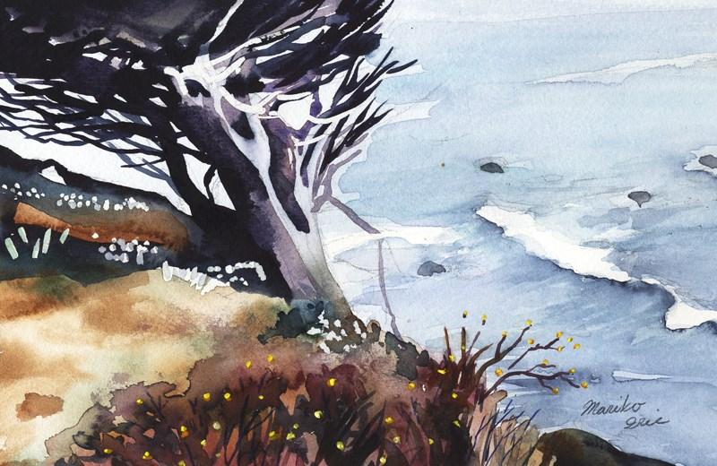 """""""A Tree by Ocean"""" original fine art by Mariko Irie"""
