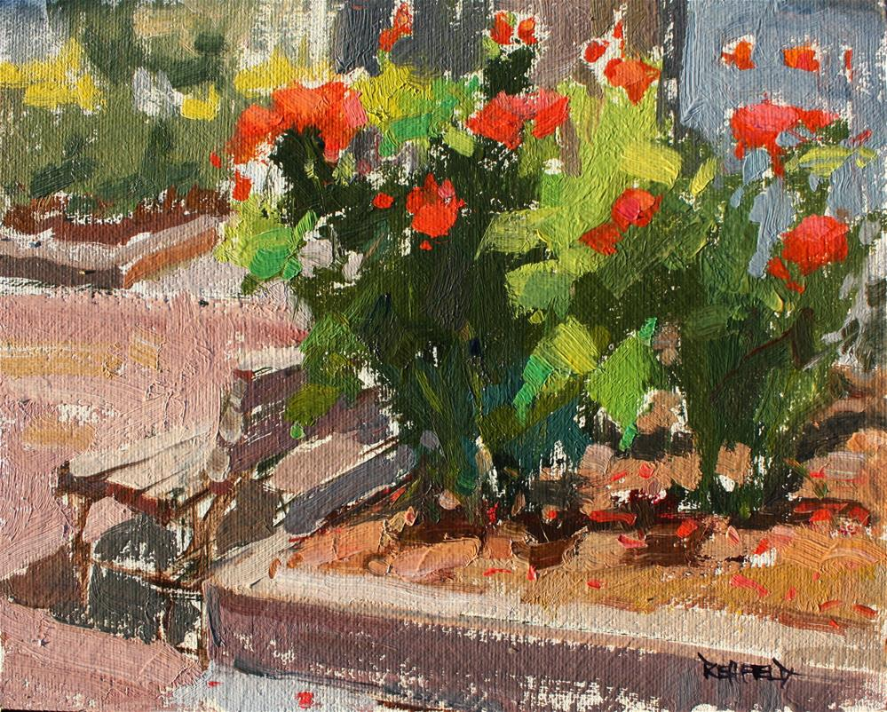 """Portland Art Museum Rose Garden"" original fine art by Cathleen Rehfeld"