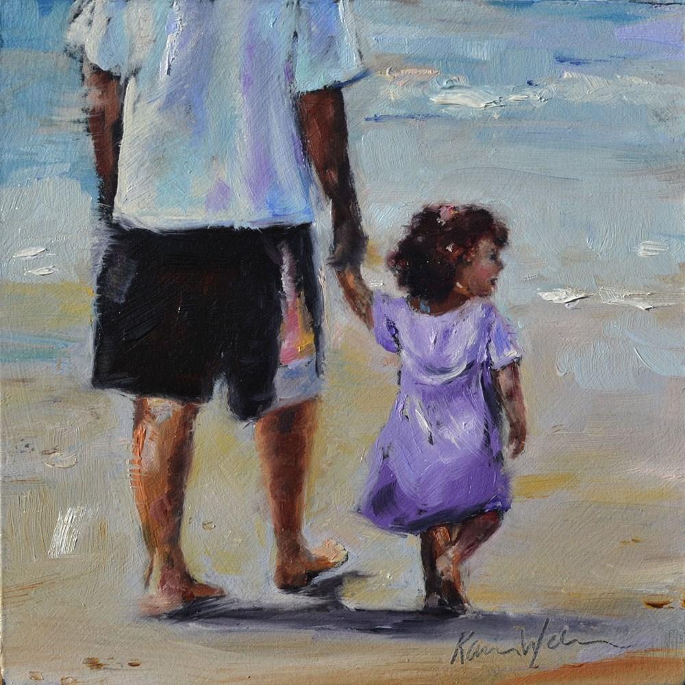 """At the Beach with Dad"" original fine art by Karen Weber"