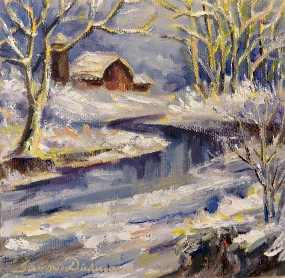 """Snowy Creek Barn"" original fine art by Tammie Dickerson"