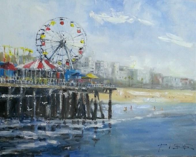 """Santa Monica Pier"" original fine art by Peter Lee"