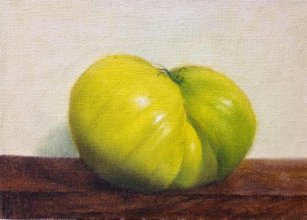 """""""Green Heirloom Tomato"""" original fine art by Jonathan Aller"""